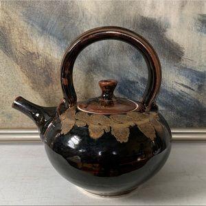 Large Artisan Ceramic Teapot Handmade Vintage 70's